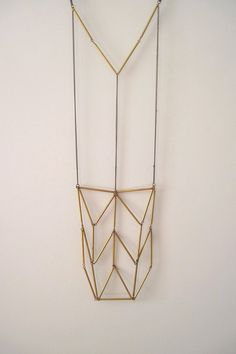 Chevron Geometric Triangle Totem Vintage Brass Bar Tube Necklace
