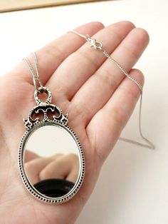 Real Mirror Necklace Romantic Jewelry, Vintage Inspired, Rhodium Plated Chain, Gifts For Her Under 40. €20.00, via Etsy.