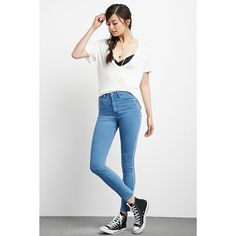 Forever21 The Fairfax High Rise Jean ($18) ❤ liked on Polyvore featuring jeans, denim, high waisted white skinny jeans, high-waisted skinny jeans, high-waisted jeans, skinny jeans and forever 21