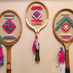 Custom Vintage Tennis Racket Woven Wall Hanging by CaluandCo