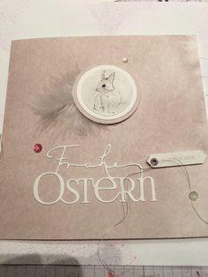 Heute war ich um Osterfieber. Die Inspiration für diese Karte habe ich bei Mia gefunden. Wie immer mit eingenähtem Büttenpapier. Papier und Stanze von Alexandra Renke.