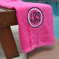 Monogrammed beach towel- good way to keep up with it. I give these in navy or brown as a high school graduation present to guys with their name to take off to college- less likely to lose them.