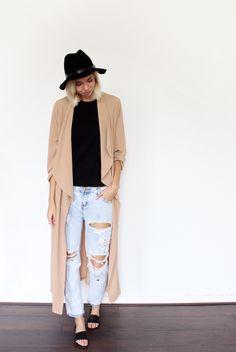 THE LONG CAMEL COAT. Camel coat, distressed denim and slides.