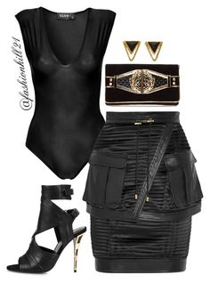 """""""Untitled #1211"""" by fashionkill21 ❤ liked on Polyvore featuring Balmain, Katie Diamond, women's clothing, women, female, woman, misses and juniors"""