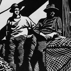 Jack and Jim Head | Linocut | Lino Print - buy the sea
