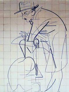 FERNANDO PESSOA - Painel de azulejos de Júlio Pomar (1926 - ), na estação do metro do Alto dos Moinhos, Lisboa.
