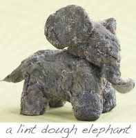 Modeling dough made out of dryer lint becomes this cute little elephant. Recipe for the dough at http://lavishandlime.blogspot.com.au/2010/03/tuesday-eco-tip-make-dough-more-from.html#