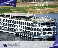 Here is an Amazing Cruise Offer! CAIRO - ASWAN/LUXOR ( NILE CRUISE ) 05 DAYS 04 NIGHTS 05 & 06 JAN 2016 PROGRAM INCLUDING - Round trip tickets Egypt Air 05 & 06 Jan 2016 on.fb.me/1NQLGCB