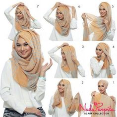 This is a hijab that Muslim women have to wear because it is a part of the religion. You can wear hijab in many different ways. The woman have to wear hijab in front any stranger that a man she could take it off in front of any girl. Simple Hijab Tutorial, Square Hijab Tutorial, Hijab Style Tutorial, Hijab Chic, Stylish Hijab, Easy Hijab Style, Hijab Dress, Hijab Outfit, Hijab Niqab