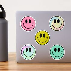 """""""Smiley Face Happy Retro Hippy Set"""" Sticker by julieerindesign 