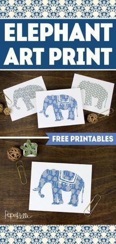 FREE PRINTABLE!  Set of 3 Elephant Art Prints   designed by Paperelli for Remodelaholic.com