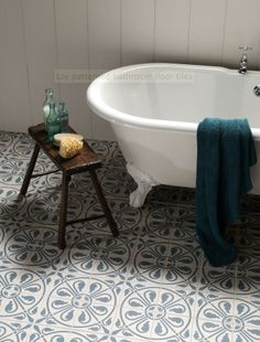Beautiful floor tiles that really transform a this bathroom into something special. These tiles are by Original Style. Looking for - Blue and white floor tiles, feature floor tiles, bathroom tile ideas, Carmen Darwin for Evolution House Bad Inspiration, Decoration Inspiration, Bathroom Inspiration, Bathroom Floor Tiles, Bathroom Renos, Laundry In Bathroom, Kitchen Tiles, Bathroom Ideas, Family Bathroom