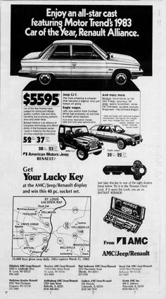 American Motors, Jeep Cj, Fuel Economy, Chevrolet Logo, It Cast, Ads, Wedding Ring