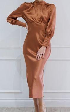 0ad46251a9 Dakota Satin Midi Dress - Copper by Pretty Lavish