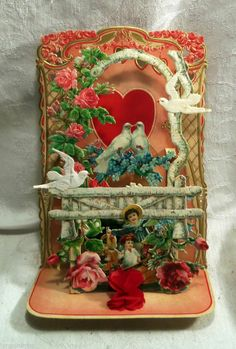 Vintage Valentine Greeting Card Fold Out Honeycomb Embossed Large 1930 Germany