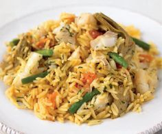 Easy Haddock, Green Bean, and Artichoke Paella Recipe
