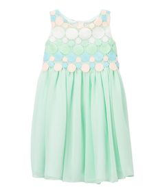 Take a look at this Mint Circle Embroidery Chiffon Dress - Toddler & Girls today!