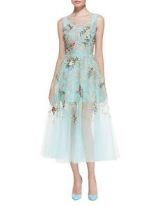 B2SWA Oscar de la Renta Floral Embroidered Cocktail Dress, Aquamarine
