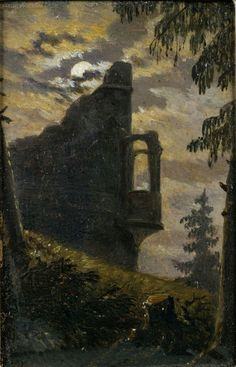 Moonlight behind castle ruins with alcove by Carl Gustav…