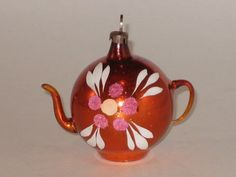 Glass Teapot Christmas Ornament Antique West German Vintage Decoration 1950's  | eBay
