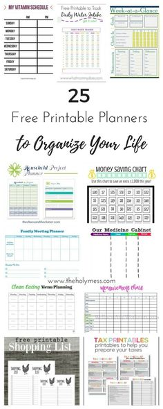 Use these 25 free pr Use these 25 free printable planners to organize your life for budgeting clean eating household tasks parenting fitness and more. To Do Planner, Meeting Planner, Free Planner, Happy Planner, 2015 Planner, Planner Ideas, Blog Planner, Family Planner, Savings Planner