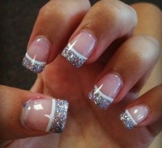 """""""FrenchyGlitter!"""" - short squared french tipped, glitter nails with a white line underneath tips."""