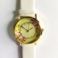 Floral Watch Vintage Style Leather Watch Women by FreeForme, $10.00