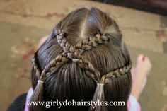 Girly Do's By Jenn: Criss-Cross Braid Pigtails Girly Hairstyles, Easy Little Girl Hairstyles, Girls Hairdos, Girls Braids, Short Emo Hair, Short Hair Styles, Pigtail Braids, Braided Pigtails, Braided Hair