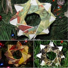How to make origami Christmas card stars; each star is created from eight squares cut from Christmas cards, each folded separately then assembled together.