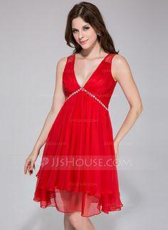 Holiday Dresses - $108.99 - A-Line/Princess V-neck Knee-Length Chiffon Tulle Holiday Dress With Ruffle Beading (020037392) http://jjshouse.com/A-Line-Princess-V-Neck-Knee-Length-Chiffon-Tulle-Holiday-Dress-With-Ruffle-Beading-020037392-g37392