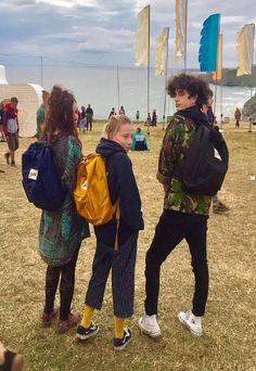 Maude & Co wearing triple boardwear backpacks at Boardmasters 2018