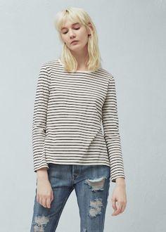 Camiseta algodón rayas - Camisetas y tops de Mujer | OUTLET España
