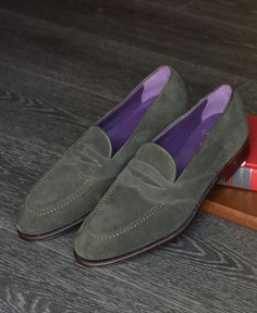 7aa2728ff2a Carmina Shoemaker Full Strap Loafer in Dark Green Suede