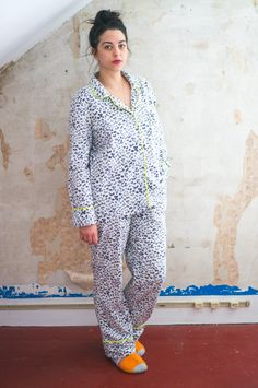 Carolyn Pajamas in animal print flannel and neon piping // Closet Case Files