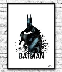 Batman BUY 2, GET 1 FREE! Watercolor Print, Batman print, Wall Hanging,Giclee wall print,Super hero art,Movie poster,Illustration,Home Decor
