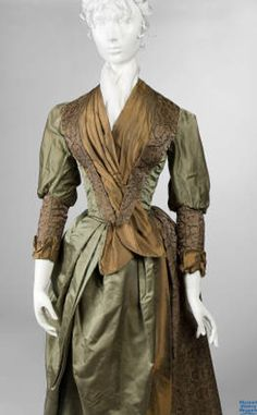 Two-piece olive-green satin wedding gown with brown brocade, worn by Emma Johnson on her wedding day on October 17, 1888.
