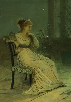 John Atkinson Grimshaw - A classical maiden seated on a terrace by moonlight