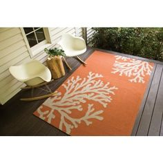 Bough Out Area Rug - Orange and Grey