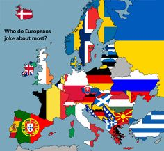 Who do Europeans joke about most?