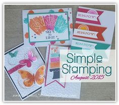 Simple Stamping August 2015 class featuring Watercolor wings, over the rainbow, build a birthday and all about sugar sets