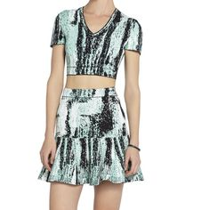 Bcbg Max Azria crop top and skirt Bcbg Max Azria green abia jacquard crop top and skirt. In XS. Worn once. Excellent condition. BCBG Skirts Skirt Sets