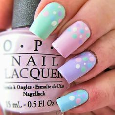 Pastel Nails: 35 Creative Pastel Nail Art Designs - Part 23 Pastel Nail Art, Cute Nail Art, Easy Nail Art, Cute Nails, Pastel Colors, Pastels, Colorful Nails, Easter Nail Designs, Nail Art Designs