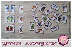 """Diese kleinen Karten habe ich in der Stationsarbeit in der Vorschule und der ersten Klasse zum Thema """"Symmetrie"""" eingesetzt. Sie haben es..."""