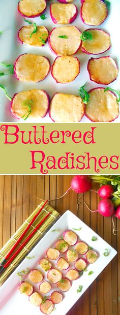 Buttered Radishes made with Hoisin Sauce and Earth Balance Butter. Delicious Appetizer to put in sandwiches and pasta. Low-carb snack: we did not grill but will next time. Everyone did enjoy for a different side Vegetarian Comfort Food, Vegetarian Recipes, Fruit And Veg, Fruits And Veggies, Vegetable Side Dishes, Vegetable Recipes, Tapas, Salad Toppings, Low Carb Recipes