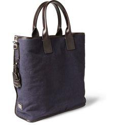 Dolce & Gabbana Men's Leather-Trimmed Canvas Tote Bag