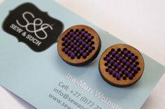 Purple Cross Stitch Earrings by Sew & Such Purple Cross, Pretty Woman, Cross Stitch, Sewing, Create, Earrings, How To Make, Crossstitch, Needlework
