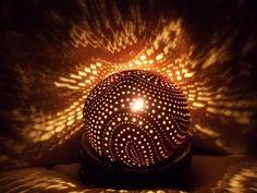 Lampe d'ambiance en noix de coco sculptée. Carved white (young) coconut lamp : €60 ($72) . Visit our online shop with the link  below (Lampe en noix de coco blanche,visitez notre boutique en cliquant le lien suivant: VENDUE/SOLD