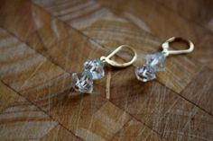 Herkimer Diamond and Aquamarine Earrings Gold by HaniaMarysia