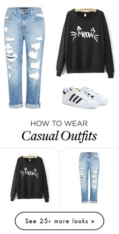 Comfy and Casual by kerrybunnylove on Polyvore featuring Genetic Denim, adidas, casual, chic, basic, comfy and chill