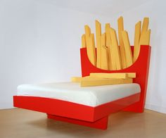 Do you love french fries? Why don't you sleep with this unique bed by Cecilia Carey. This bed has a headboard in a form of giant french fries cushions in its Weird Furniture, Cute Furniture, Cheap Furniture, Furniture Online, Furniture Outlet, Discount Furniture, Furniture Ideas, Furniture Design, Weird Beds